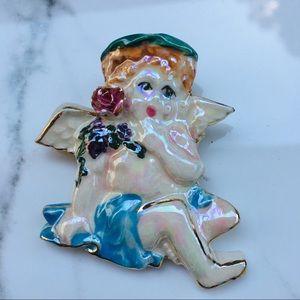 Cherub porcelain brooch pin angel vintage